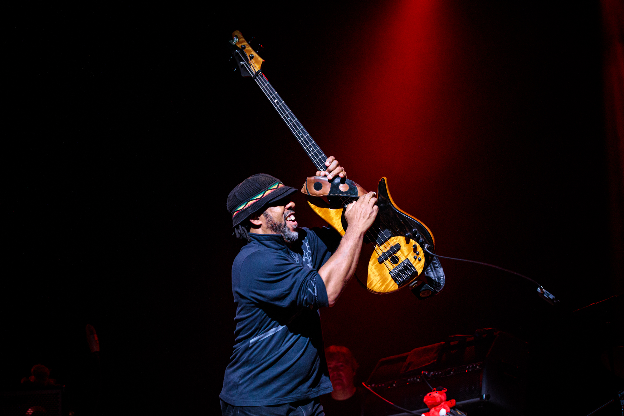 Victor Wooten flipping his bass on December 4, 2019